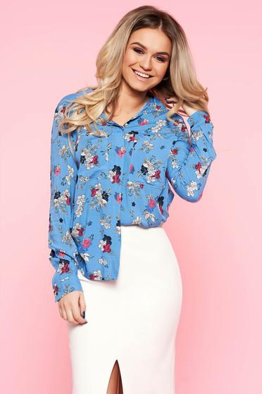 Kék Top Secret casual bő szabású virágmintás női ing hosszú ujjakkal lenge anyagból