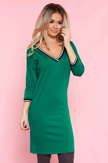 Zöld Top Secret hétköznapi ruha 3/4-es ujjakkal egyenes szabás enyhén rugalmas anyag