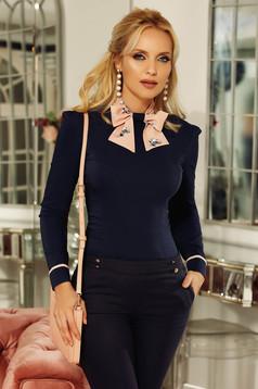 Sötétkék Fofy irodai női ing karcsusított szabás enyhén elasztikus pamut