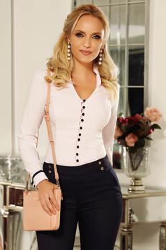 Világos rózsaszín Fofy irodai női ing enyhén elasztikus pamut karcsusított szabás v-dekoltázzsal
