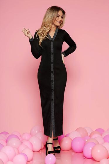 Fekete party ruha enyhén rugalmas anyag belső béléssel szűk szabással