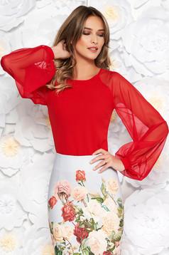 Piros StarShinerS elegáns női blúz enyhén rugalmas anyag fátyol újjakkal szűk szabás