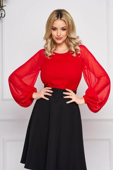 Piros StarShinerS elegáns szűk szabású női blúz enyhén rugalmas anyagból muszlin ujjakkal