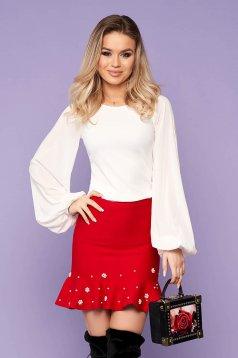 Fehér StarShinerS elegáns női blúz enyhén rugalmas anyag fátyol újjakkal szűk szabás