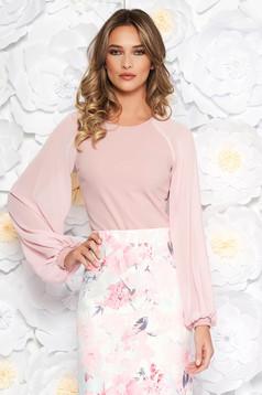 Pink StarShinerS elegáns női blúz enyhén rugalmas anyag fátyol újjakkal szűk szabás