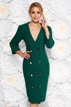 Zöld Artista elegáns zakó tipusú ruha enyhén elasztikus szövet átfedéses gomb kiegészítőkkel