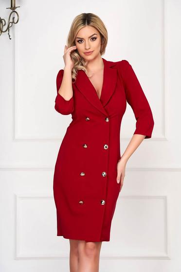 Piros elegáns zakó tipusú átlapolt ruha enyhén rugalmas szövetből gomb kiegészítőkkel