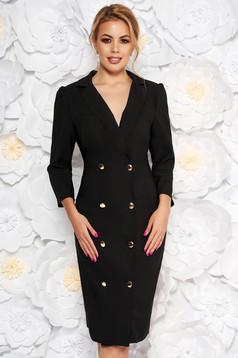 Fekete Artista elegáns zakó tipusú ruha enyhén elasztikus szövet átfedéses gomb kiegészítőkkel