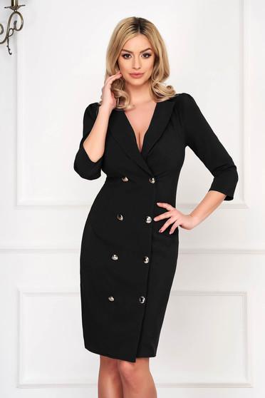 Fekete elegáns zakó tipusú átlapolt ruha enyhén rugalmas szövetből gomb kiegészítőkkel