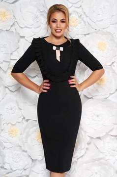 Háromnegyedes ujjú fekete LaDonna ruha masni alakú kiegészítővel