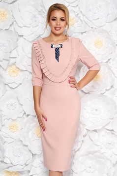 Háromnegyedes ujjú rózsaszínű LaDonna ruha masni alakú kiegészítővel
