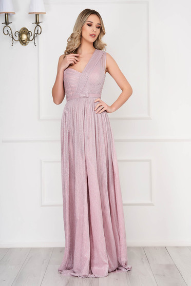 Világos rózsaszín Ana Radu ruha belső béléssel övvel ellátva harang