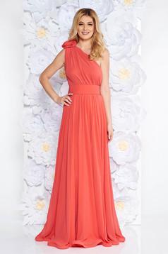 Narancssárga Ana Radu egy vállas luxus harang ruha muszlinból virágos díszekkel övvel ellátva