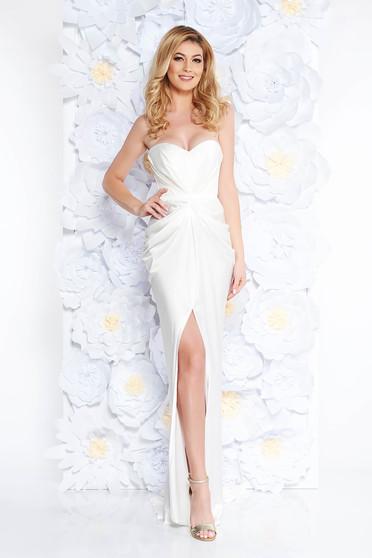 Fehér Ana Radu ruha szatén anyagból váll nélküli szivacsos, push-up-os mellrész övvel ellátva