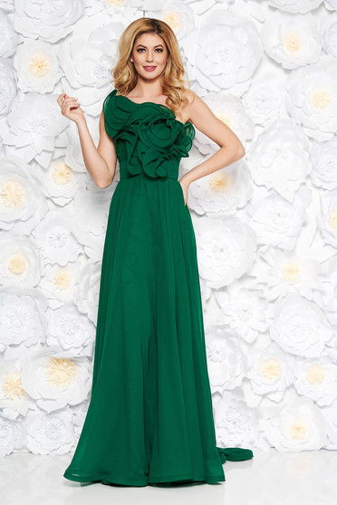 Zöld Ana Radu luxus egy vállas fodros ruha muszlinból béléssel övvel ellátva