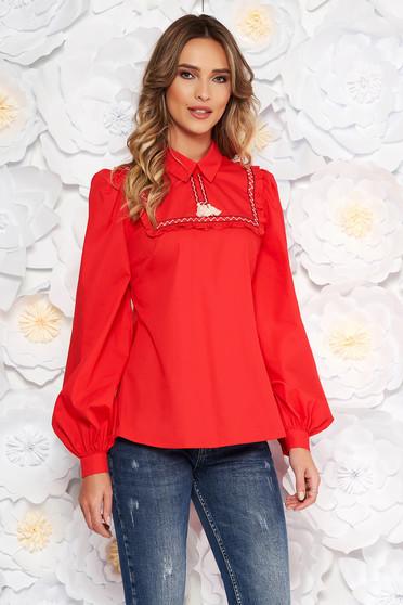 Piros LaDonna casual bő szabású női blúz nem elasztikus pamut bojtos
