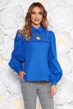 Kék LaDonna casual bő szabású női blúz nem elasztikus pamut bojtos