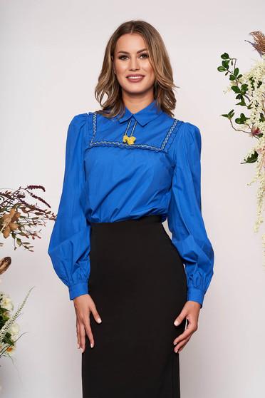 Kék casual bojtos bő szabású női blúz rugalmatlan pamutból