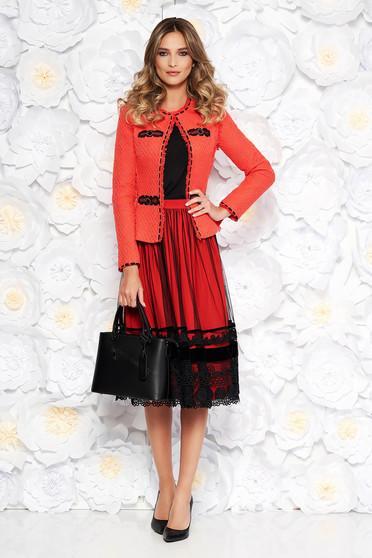 Korall LaDonna elegáns női kosztüm nem elasztikus pamut belső béléssel karcsusított szabás