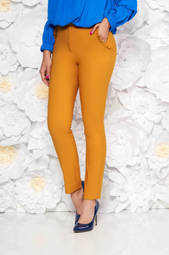 Mustar PrettyGirl elegáns magas derekú nadrág enyhén elasztikus szövet fodros