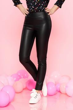 Fekete PrettyGirl casual magas derekú nadrág műbőr és pamutból derékban rugalmas