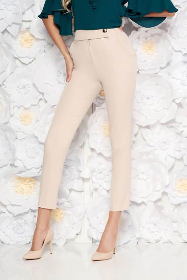 Rózsaszínű PrettyGirl irodai kónikus nadrág magas derekú enyhén elasztikus szövet zsebes