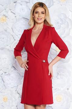 Piros Artista zakó tipusú a-vonalú elegáns ruha enyhén elasztikus szövet belső béléssel
