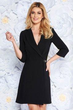 Fekete Artista zakó tipusú a-vonalú elegáns ruha enyhén elasztikus szövet belső béléssel