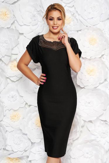 Fekete Artista alkalmi midi ruha enyhén rugalmas anyag gyöngyös díszítés