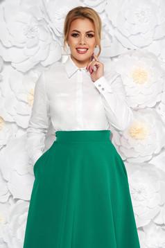 Fehér női ing irodai szűk szabás enyhén elasztikus pamut hosszú ujjak