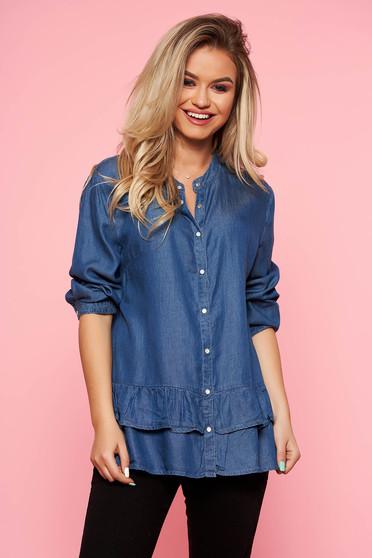 Kék Top Secret casual bő szabású női ing fodros