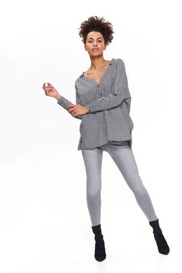 Fekete Top Secret casual bő szabású pamutból készült női ing kivágott hátrész
