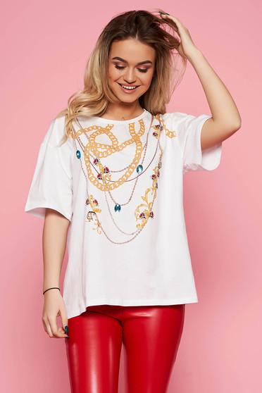 Fehér Top Secret casual bő szabású pamutból készült póló grafikai mintával