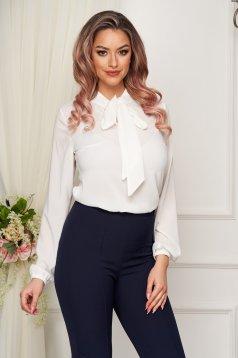Fehér StarShinerS elegáns bő szabású női blúz muszlinból kendő jellegű gallérral