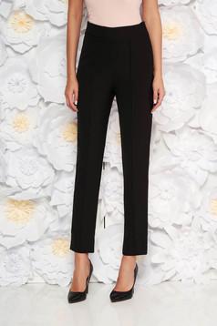 Fekete StarShinerS elegáns irodai nadrág magas derekú enyhén rugalmas anyag zsebes