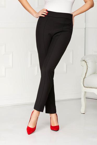 Fekete StarShinerS irodai kónikus zsebes magas derekú nadrág enyhén rugalmas anyagból