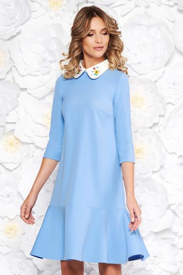 Kék StarShinerS elegáns bő szabású ruha enyhén elasztikus szövet kerek gallér hímzett