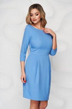 Kék StarShinerS a-vonalú rövid zsebes ruha enyhén rugalmas szövetből