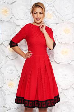 Piros Artista alkalmi midi harang ruha enyhén rugalmas anyag csipke díszítéssel