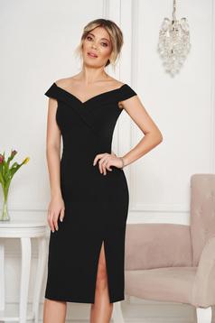 Fekete StarShinerS alkalmi ruha szűk szabás v-dekoltázzsal a vállakon