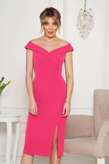 dab1277c2f Rózsaszínű StarShinerS alkalmi ruha szűk szabás v-dekoltázzsal a vállakon