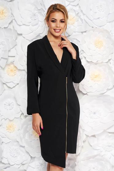 Fekete LaDonna elegáns zakó tipusú ruha rugalmatlan szövet belső béléssel hosszú ujjak