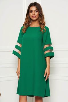 Zöld ruha elegáns bő szabású rugalmatlan szövet bő ujjú