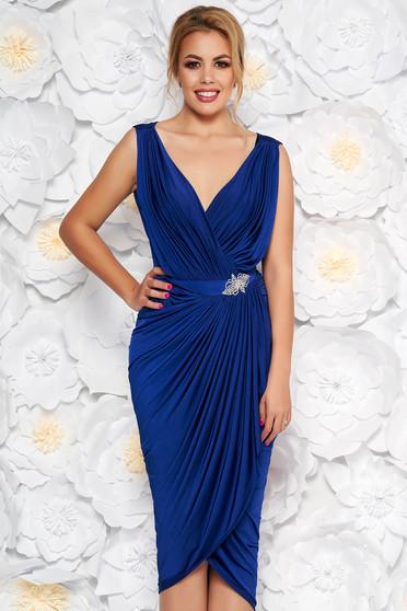 Kék alkalmi átfedéses ruha strassz köves kiegészítő szűk szabás vékony anyag