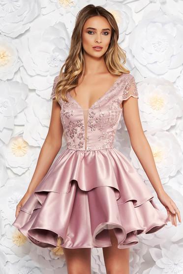 Rózsaszínű Artista alkalmi harang ruha szatén anyagból szivacsos mellrész flitteres díszítés