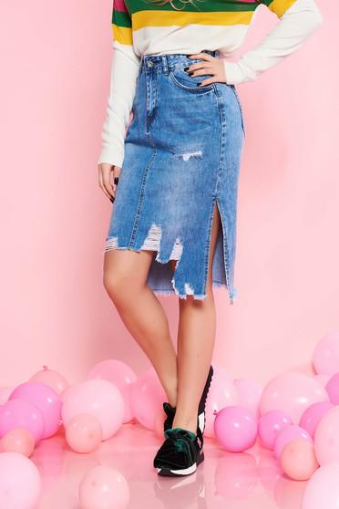 Kék SunShine casual magas derekú egyenes szoknya pamutból készült szakadt