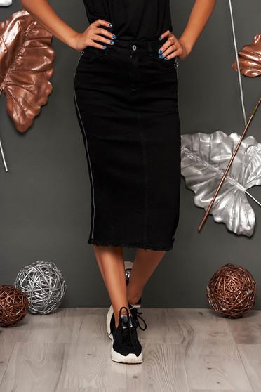 Fekete SunShine casual magas derekú midi szoknya rugalmas pamutból és cipzárral