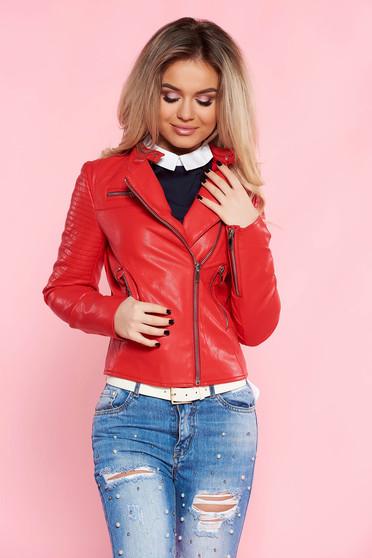 ef02573a4385 Piros SunShine casual műbőr dzseki belső béléssel cipzáros zsebekkel