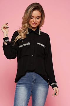 Fekete SunShine elegáns bő szabású női ing fátyol anyag hosszú ujjak