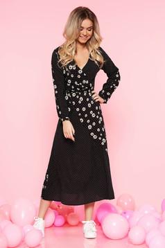 Fekete Top Secret casual harang ruha lenge anyagból virágmintás díszítéssel pöttyökkel átfedéses